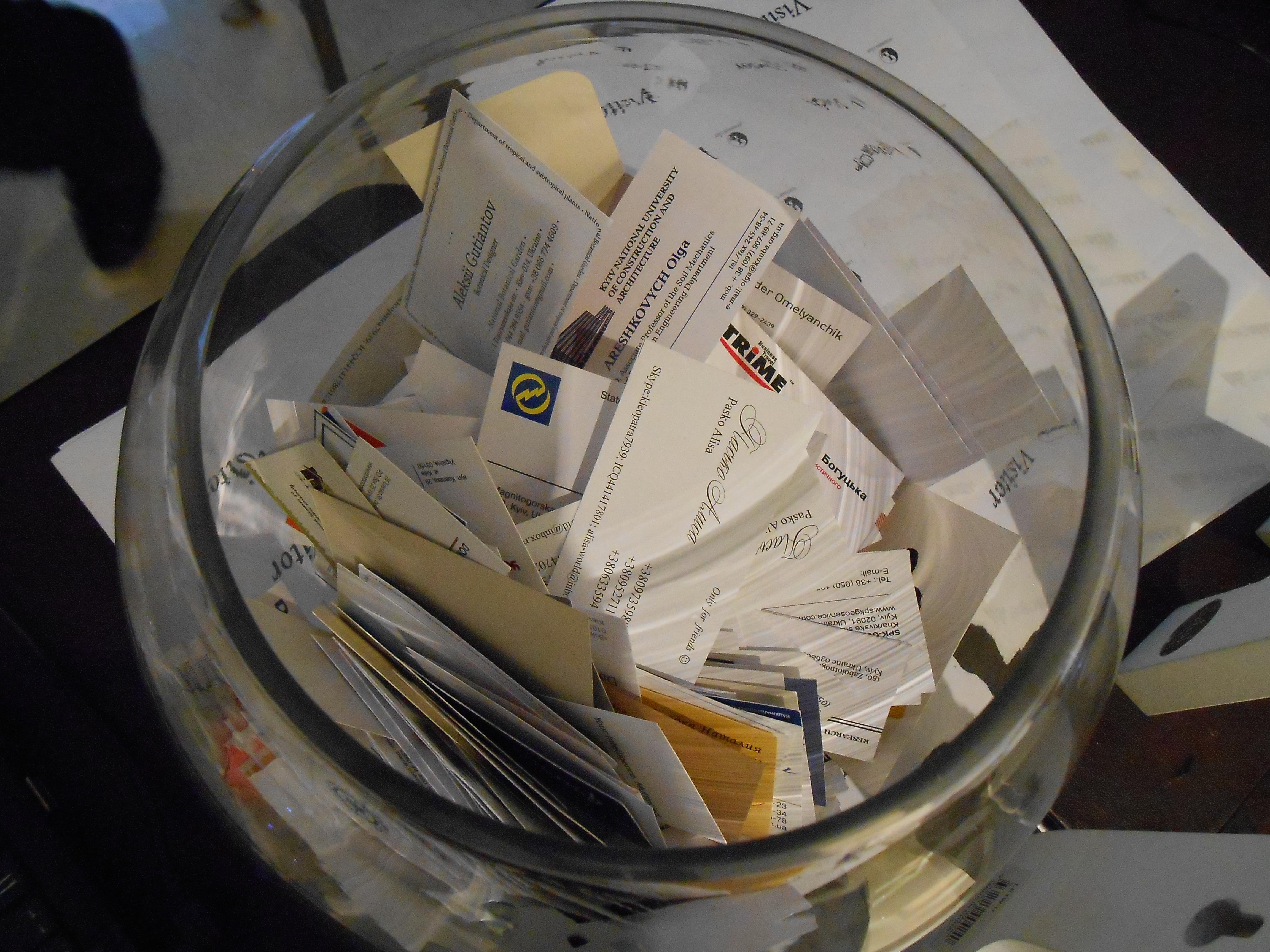 """""""Лототрон"""" с визитками на выставке """"Бизнес по-английски"""""""